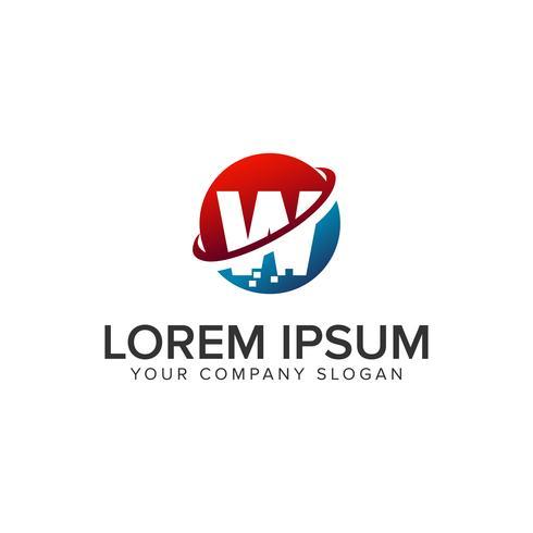 Plantilla de concepto de diseño de logo de pixel de letra W
