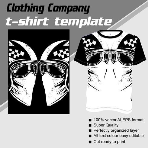 Plantilla de camiseta, totalmente editable con vector de casco de cráneo