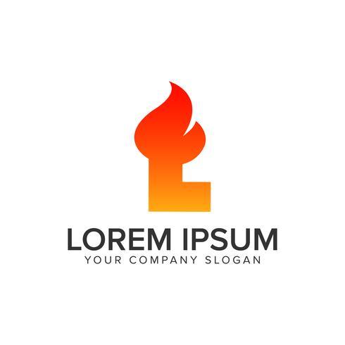 lettera L accensione Modello di concetto di disegno di fiamma logo. completamente edit