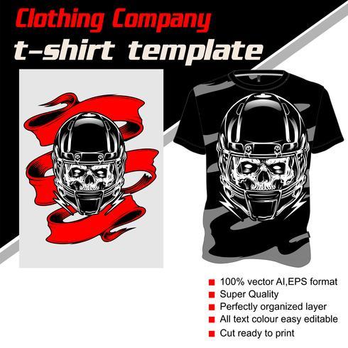 Modelo de t-shirt, totalmente editável com vetor de bandana de capacete de crânio