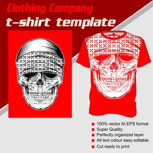 Modèle de t-shirt, entièrement modifiable avec le vecteur bandana crâne