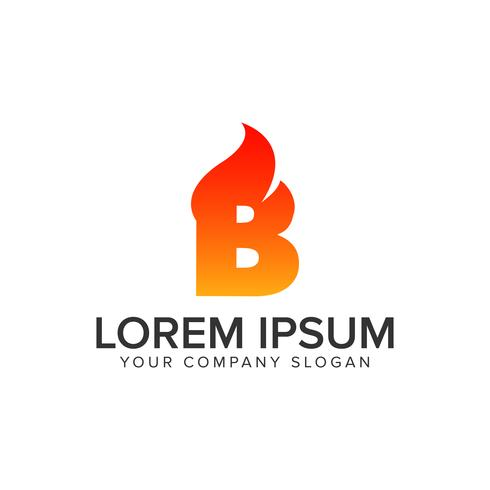 lettre B modèle de concept de design logo incendie feu. entièrement edita