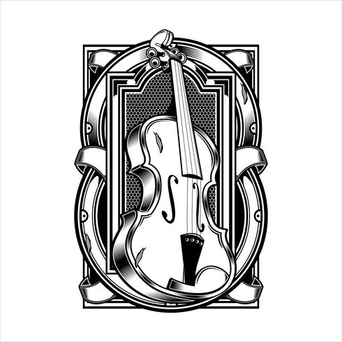 viola Musical Instrument String.vector hand drawing.Shirt ontwerpen, biker, disk jockey, gentleman, kapper en vele others.isolated en gemakkelijk te bewerken. Vectorillustratie - Vector