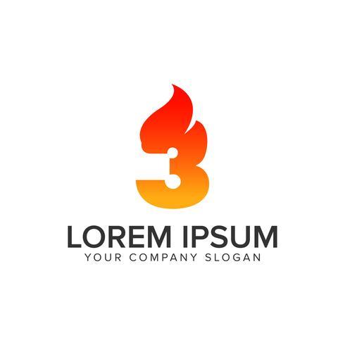 Modello di concetto di design logo fiamma ignizione numero 3. completamente edit