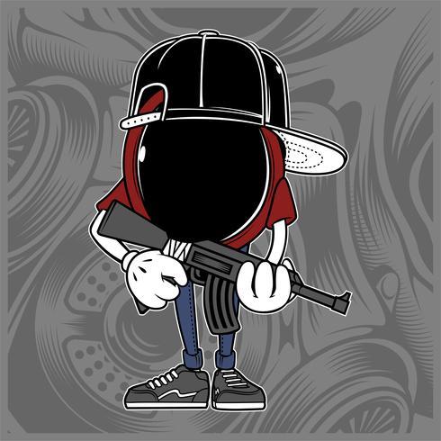máfia, bandido vestindo boné dos desenhos animados multiplique o sinal para ilustração vetorial de logotipo