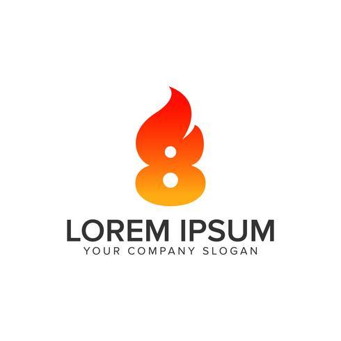 Nummer 8 tändning Flame logo design koncept mall. helt redigera