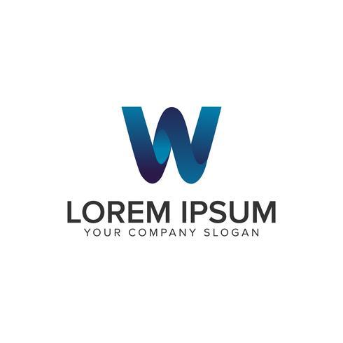 Modelo de conceito de design de logotipo moderno letra W 3D. totalmente editável