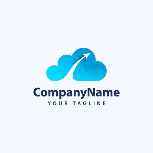 Creative 3D Cloud Logo Design. Icono creativo del vector de una nube azul con las flechas.