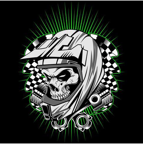 skull helmet with piston hand drawing vector