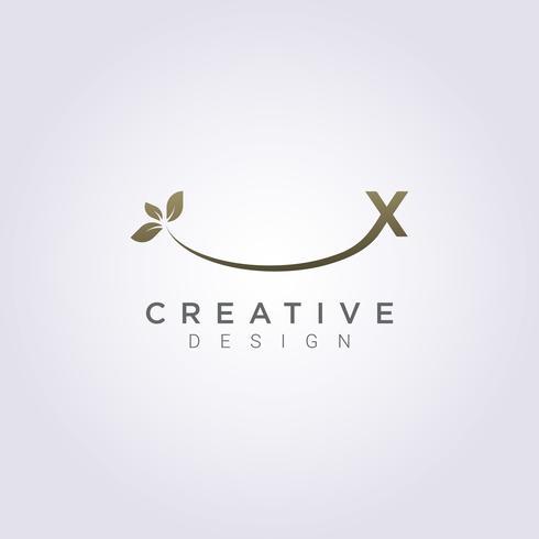 Vector Design de folha ícone letra X