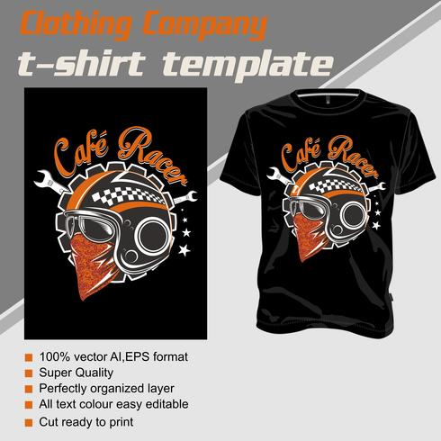 t shirt template helmet cafe racer .isolated and easy to edit. Vector Illustration - Vector