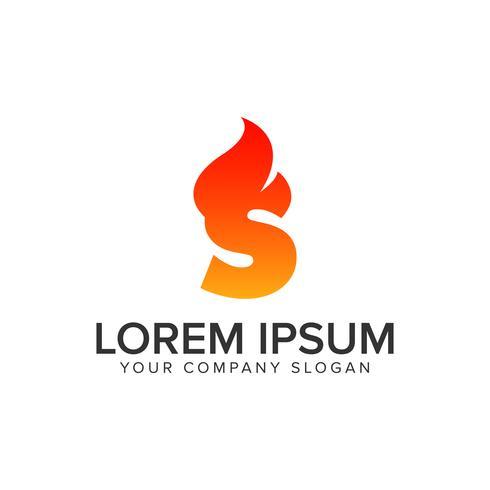 Modelo de conceito de design de logotipo de chama de ignição de letra S. editar completamente