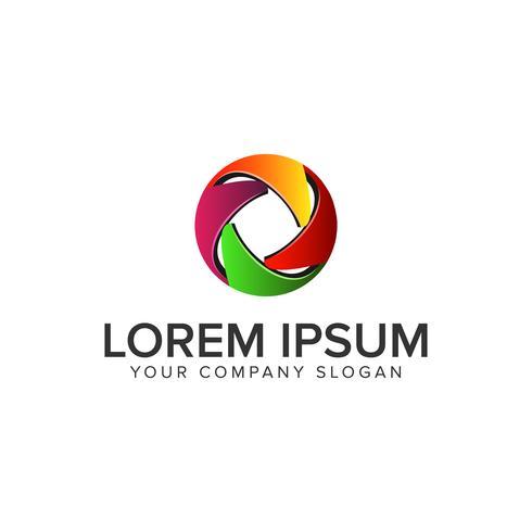 Modèle de concept de logo 3D cercle abstrait logo coloré. pleinement