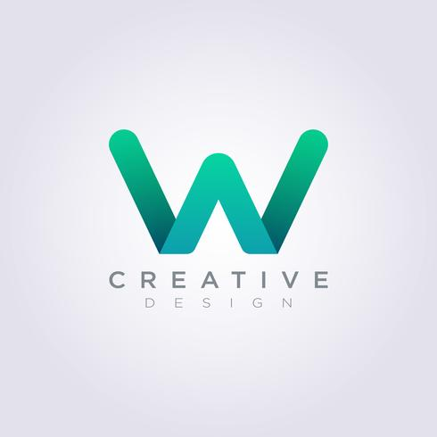 Vektor Logo Design Ikoner Symboler Brev WA Färg Grön
