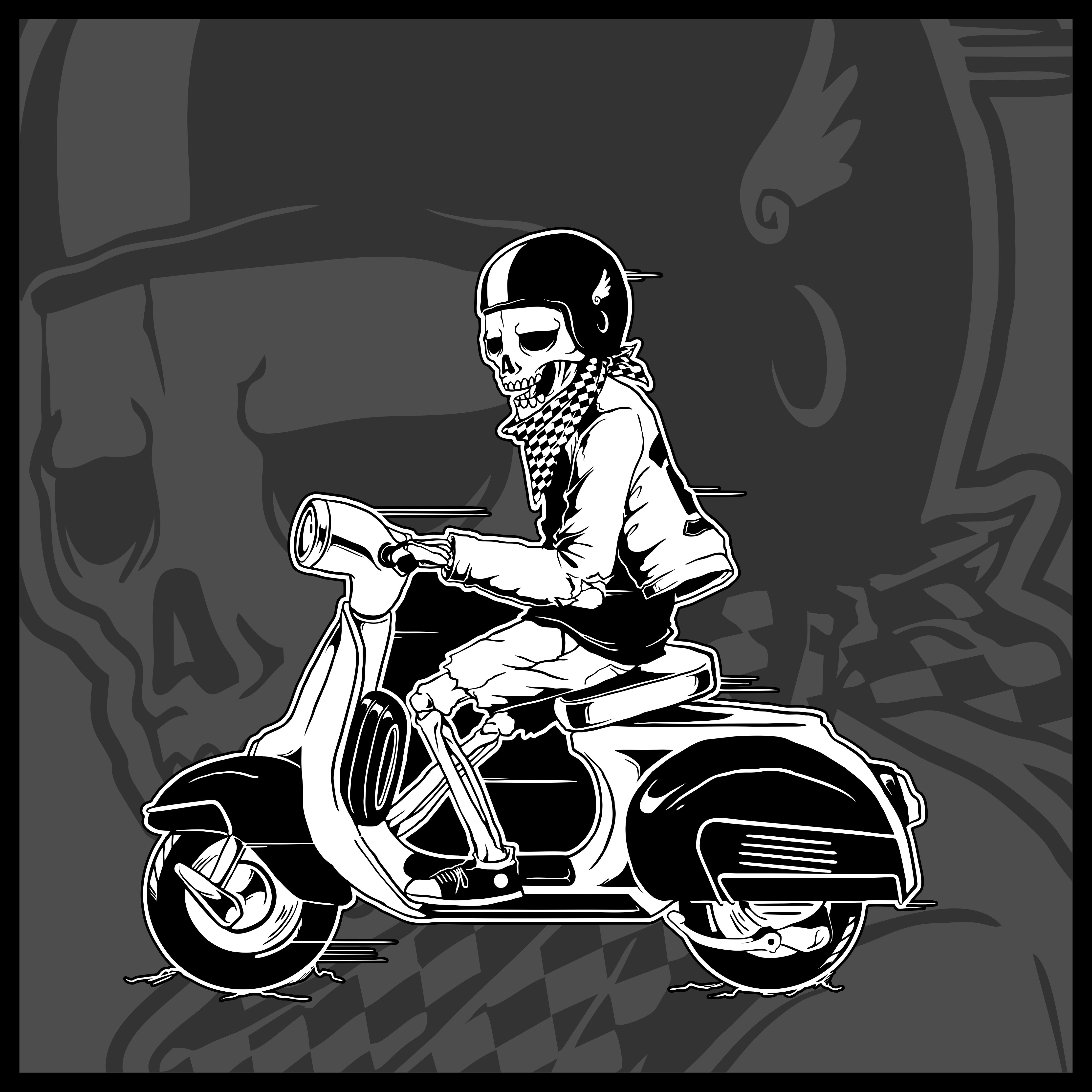 Skeleton Driving A Vintage Scooter Vector Download Free Vectors Clipart Graphics Vector Art