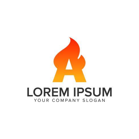 letter A ontsteking Vlam logo ontwerpsjabloon concept. volledig bewerken