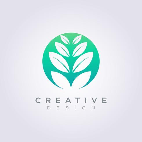 Vektor Logo Design Leaf Circle Symbol Ikon