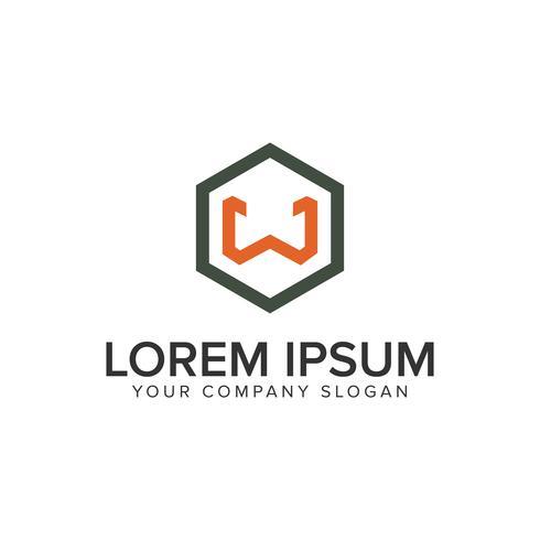 Modelo de conceito de design de logotipo minimalista letra W.