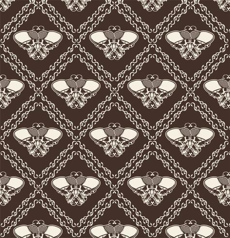 Ornamental Skull Seamless Pattern - Vector