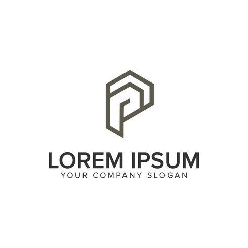 letter P minimalist logo design concept template. vector