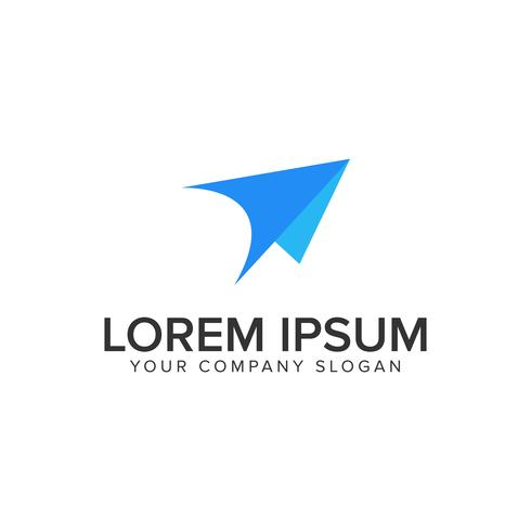 modern paper airplane logo design concept template. fully editab