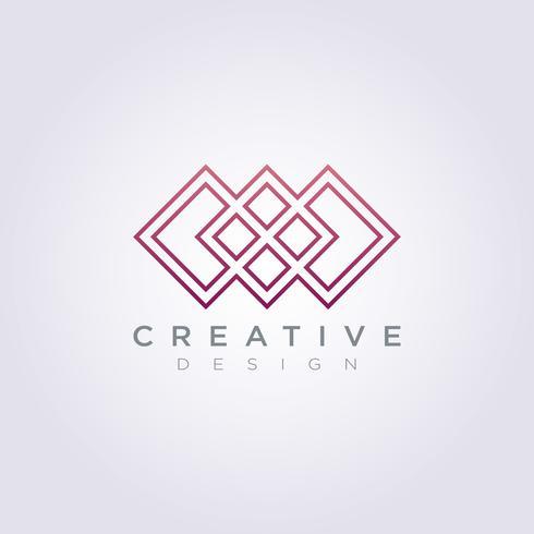Vector Logo Icon Design Line padrão quadrado moderno