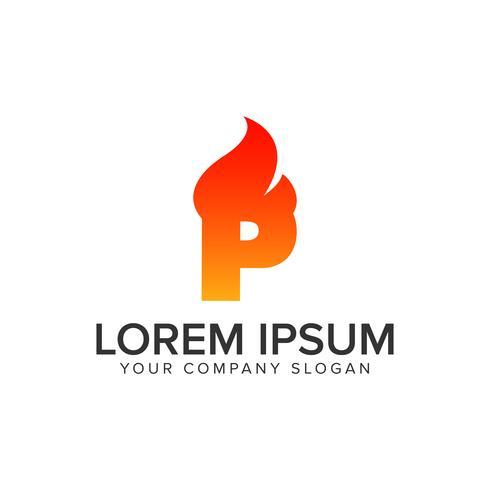 carta P ignição Chama logotipo modelo de conceito de design. editar completamente