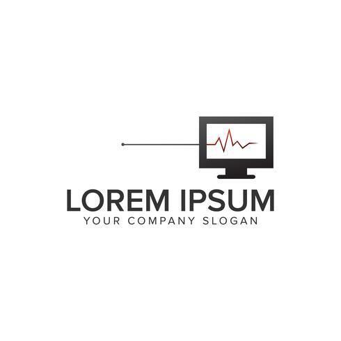 Modelo de conceito de design de logotipo de diagnóstico de computador. totalmente editável