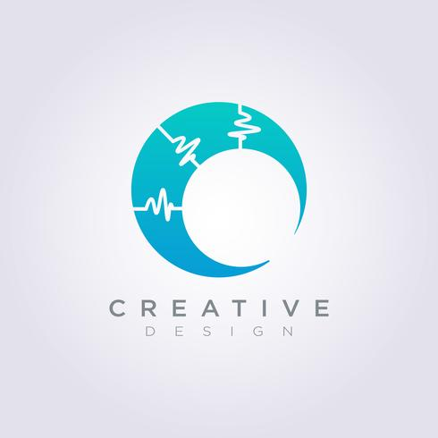 Vector Logo Design Ícone de símbolo de círculo elétrico