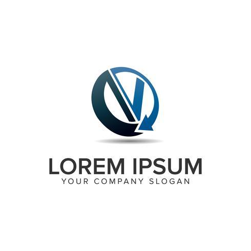 letter V moderne circulaire logo ontwerpsjabloon concept. volledig edi