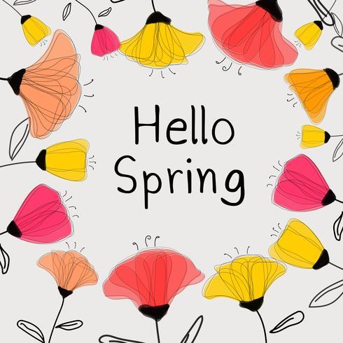 Ciao auguri di primavera con fiori colorati. Illustrazione vettoriale.