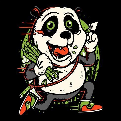 panda run holding bamboo hand drawing vector