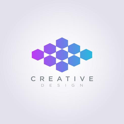 Vektor Logo Design Symbol Hexagon ikon är ordnad