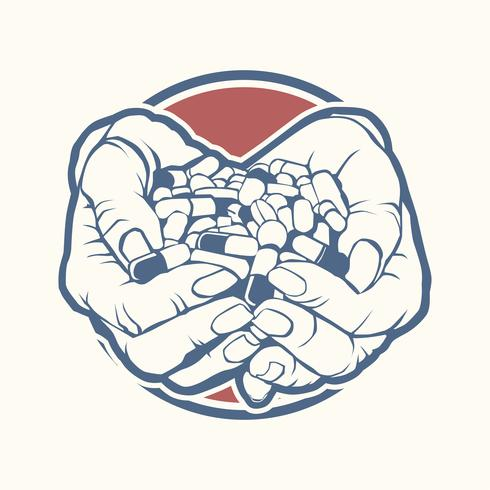 Two cupped hands holding handful, pile of colorful pills, tablets, medicine, sketch style vector illustration