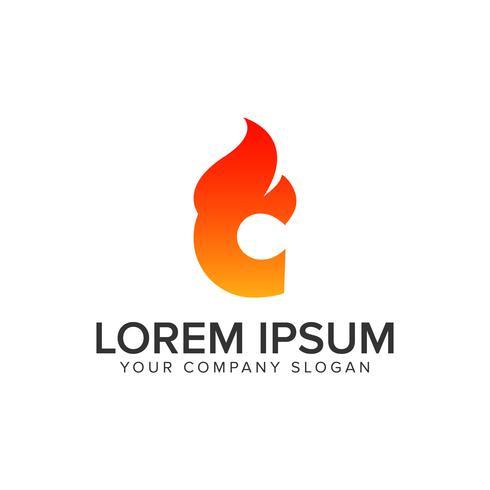 letter C ontsteking Vlam logo ontwerpsjabloon concept. volledig bewerken