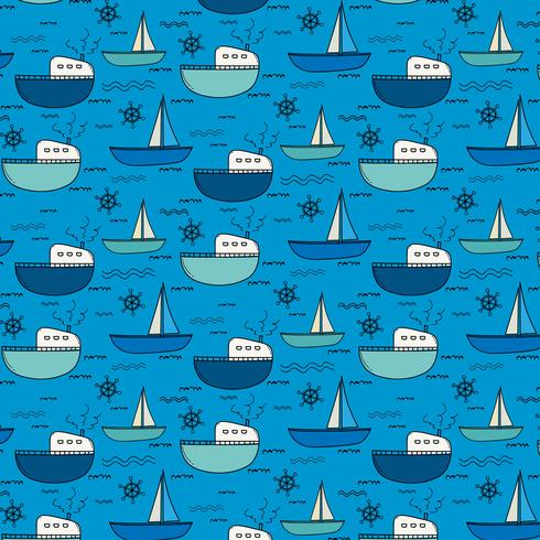 Hand Drawn Fishing Boat Pattern Background. Vector Illustration.