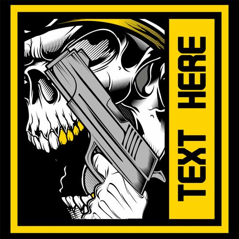 the skull roars holding a gun vector