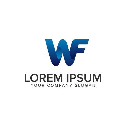 Moderna Letter W och F 3D-logotypkonceptkonceptmall. helt edi