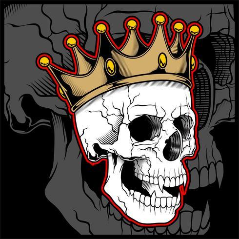Vector ilustración calavera con una corona de rey