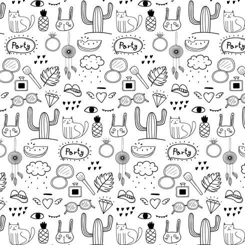Patrón con mano dibujado Doodle fondo de fiesta encantadora. Doodle gracioso. Ilustración vectorial hecha a mano