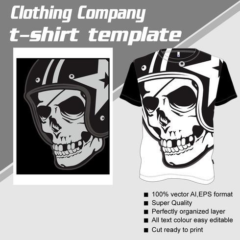 Modelo de t-shirt, totalmente editável com vetor de capacete de crânio