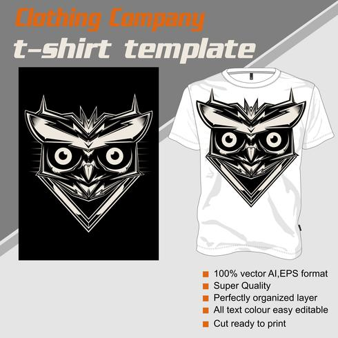 t shirt template owl .isolated and easy to edit. Vector Illustration - Vector