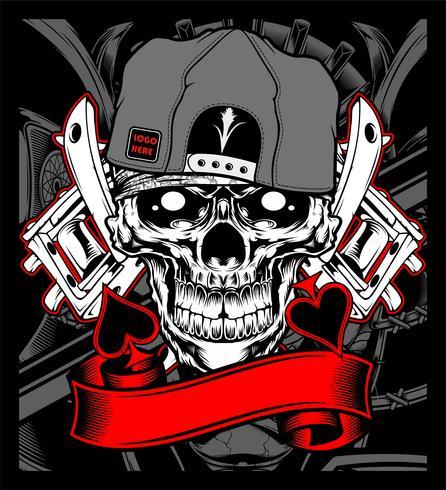cranio indossando il berretto con il vettore di macchina del tatuaggio