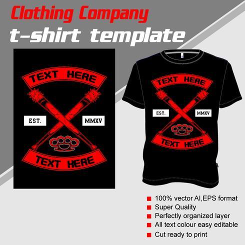 T-shirt mall, helt redigerbar med cross baseball bat vektor