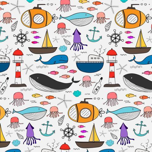 Padrão de mão desenhada com fundo do mar. Ilustração vetorial.