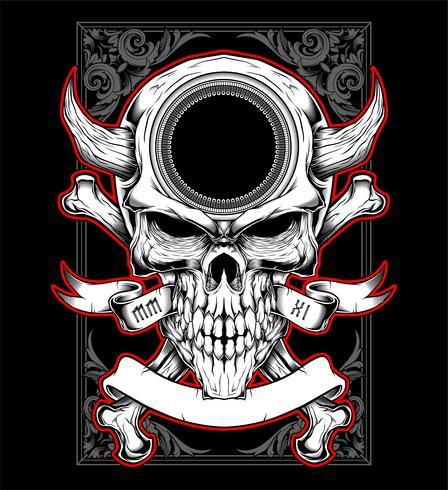 testa del cranio con il vettore di disegno a mano corno