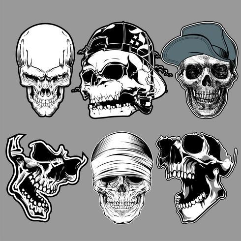 ensemble de crâne dans le style de dessin à la main - vecteur
