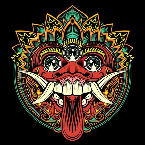 Masque balinais de rituel traditionnel. Illustration de contour de vecteur - vecteur