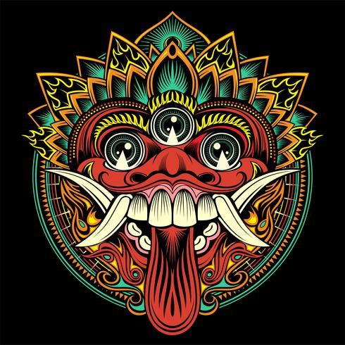 Máscara ritual tradicional balinesa. Vector ilustración de contorno - Vector