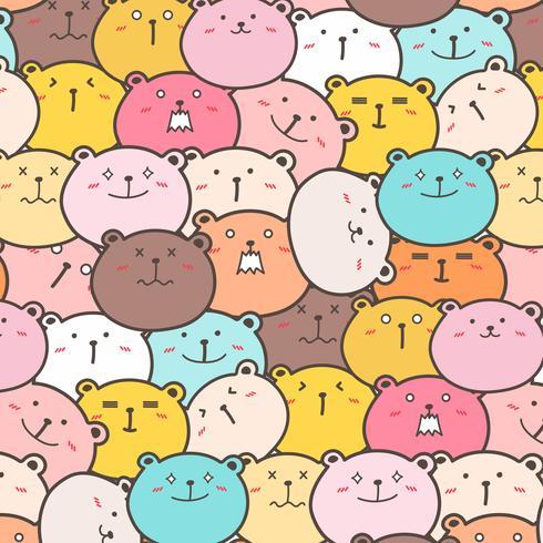 Cute Bears Vector Pattern Background. Fun Doodle. Handmade Vector Illustration.
